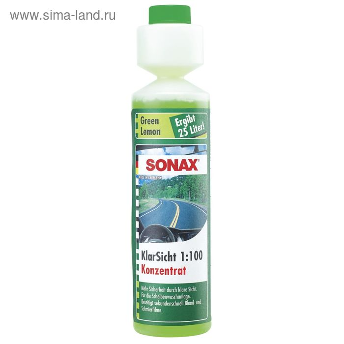 Стеклоомыватель концентрат 1:100 аромат зеленый лимон, 250 мл, SONAX