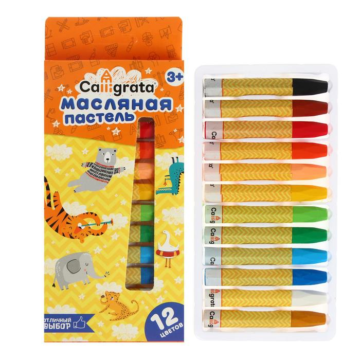 Пастель масляная, 12 цветов, в бумажном держателе, в картонной коробке
