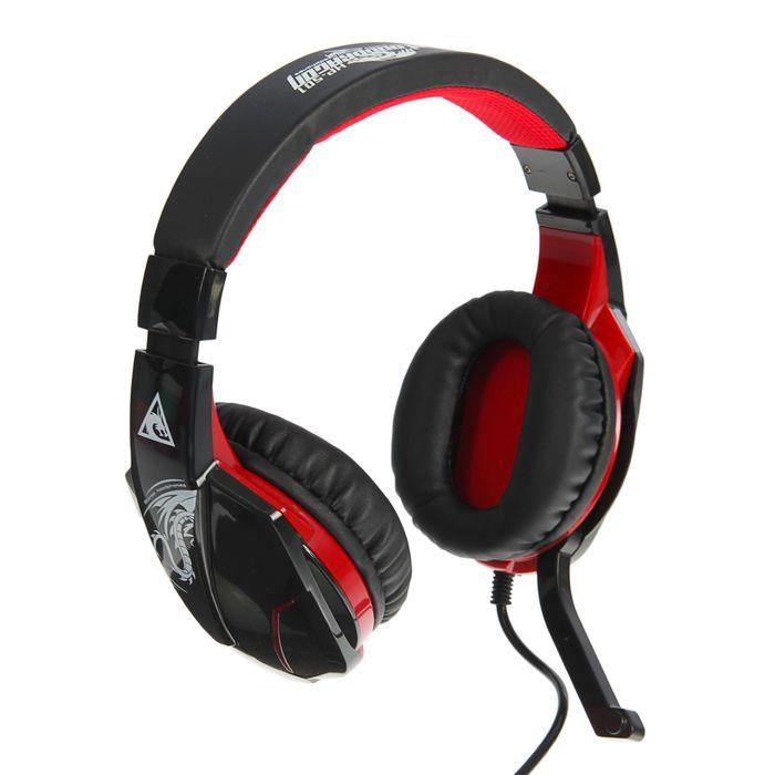 Наушники Xtrike Me HP-501, игровые, полноразмерные, микрофон, 3.5 мм+USB, 2 м, чёрно-красные