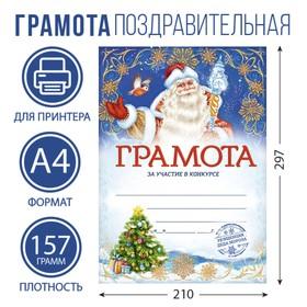 Грамота новогодняя «За участие в конкурсе», 157 гр., 29,5 х 21 см Ош