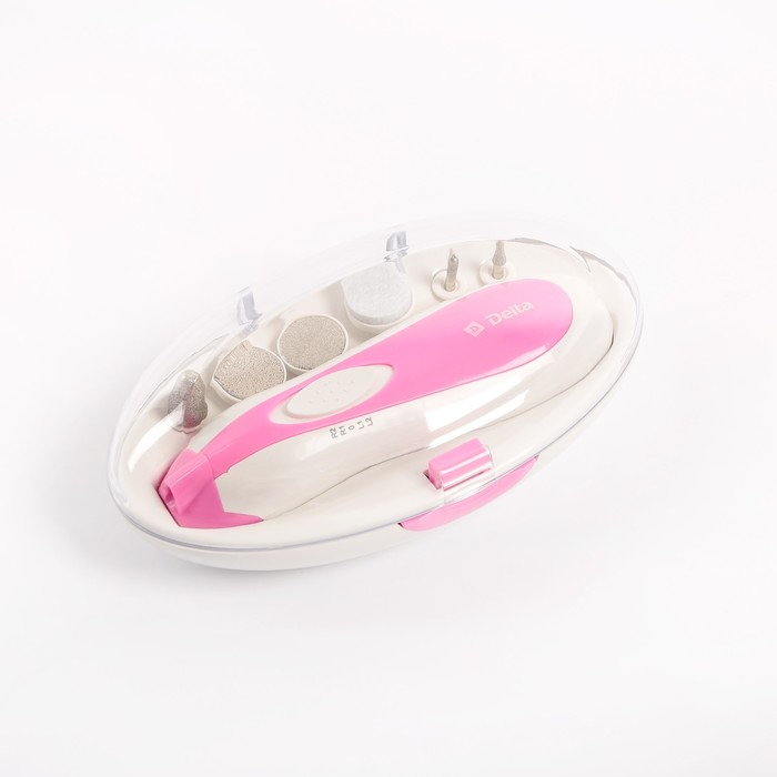 Маникюрный набор DELTA DL-0750, 3 Вт, 2 скорости, 6 насадок, розовый