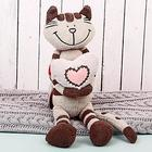 Мягкая игрушка «Кот Полосатик с сердцем», 33 см