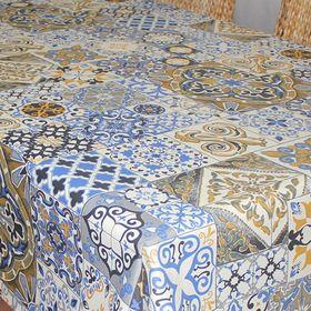 """Скатерть """"ALBA"""" Мозаика, круглый 160 см, синий"""