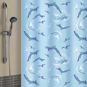 Штора для ванной 180х180 см, Дельфины ( кольца в комплекте 10 шт) Ош