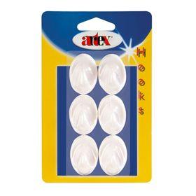 Набор крючков самоклеящихся, пластик, 6 шт, белый