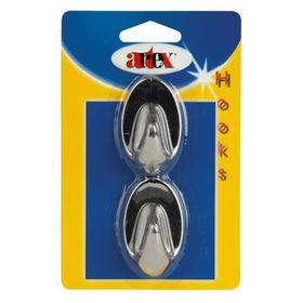 Набор крючков самоклеящихся, пластик, 2 шт, хром