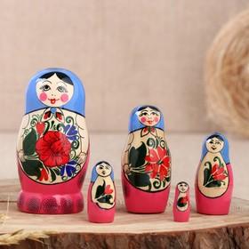 Матрёшка «Семёновская», голубой платок, 5 кукольная, 8-10  см, микс, ручная работа