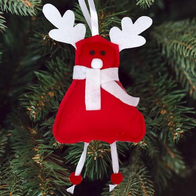 Новогодняя ёлочная игрушка, набор для создания подвески из фетра «Новогодний олень»