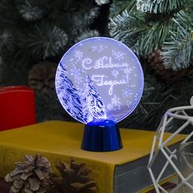 """Подставка с динамикой """"Елки"""" (батарейки в комплекте), 11,5 см, 2 LED, БЕЛЫЙ"""