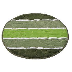 Коврик для ванной «Листопад», d=55 см, зелёный
