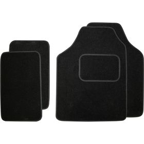 Коврики автомобильные универсальные, текстиль, черный, набор 4 шт