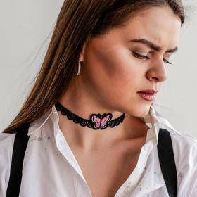Чокер 'Роуз' бабочка, цвет розово-чёрный Ош