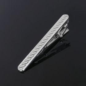 Зажим для галстука стальной 'Классический' полосы, цвет серебро 1532817 Ош