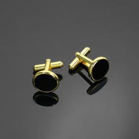 Запонки 'Круг' с эмалью , цвет чёрный в золоте Ош