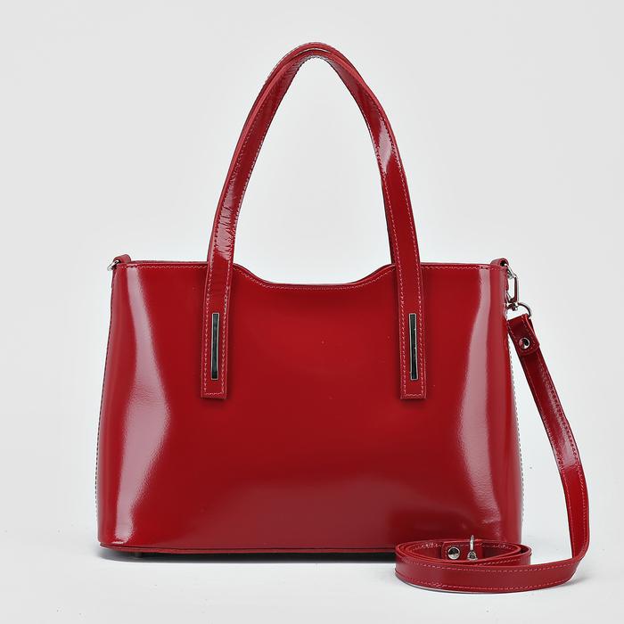 Сумка женская, отдел на молнии с перегородкой, наружный карман, длинный ремень, цвет красный