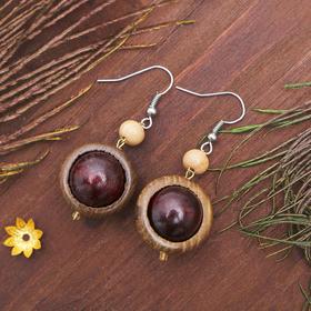 Серьги ручная работа, деревянные 'Глазки мелкие', цвет коричневый Ош