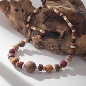 Колье ручная работа, деревянное 'Фенька', цвет светло-коричневый , длина 45см Ош