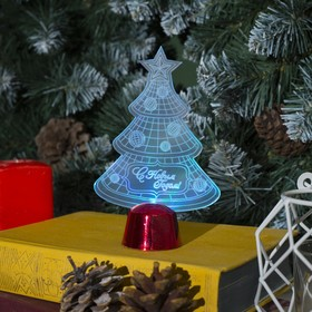 Подставка световая 'Елочка с шариками', 14х9.5 см, 1 LED, батарейки в комплекте, RGB Ош