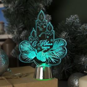 Подставка световая 'Свечки', 14.5х10.5 см, 1 LED, батарейки в комплекте, RGB Ош