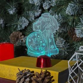 Подставка световая 'Дед Мороз, Олень в шаре', 14.5х9 см, 1 LED, RGB микс Ош
