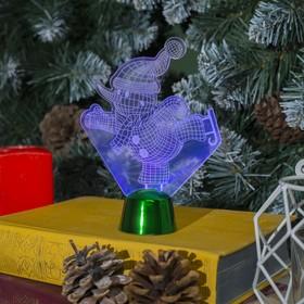 Подставка световая 'Снеговик на коньках', 14.5х10.5 см, 1 LED, RGB микс Ош