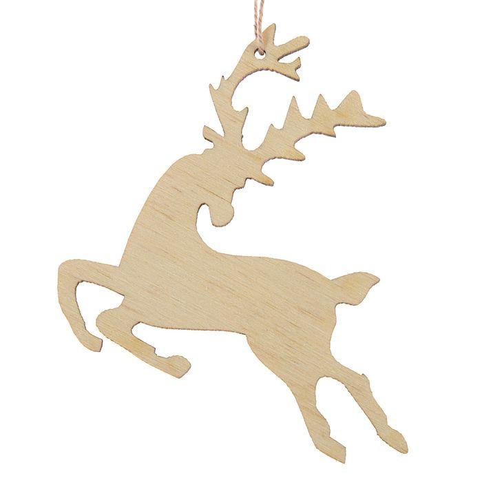 Новогодний подвес Скачущий олень, бежевый, 7 см нитка