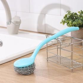 Губка для посуды металлическая с ручкой, цвет МИКС Ош