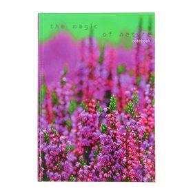 Колледж-Тетрадь А5, 100 листов в клетку 'Пейзаж. Цветущая поляна', твердая обложка, глянцевая ламинация, сшитый блок Ош