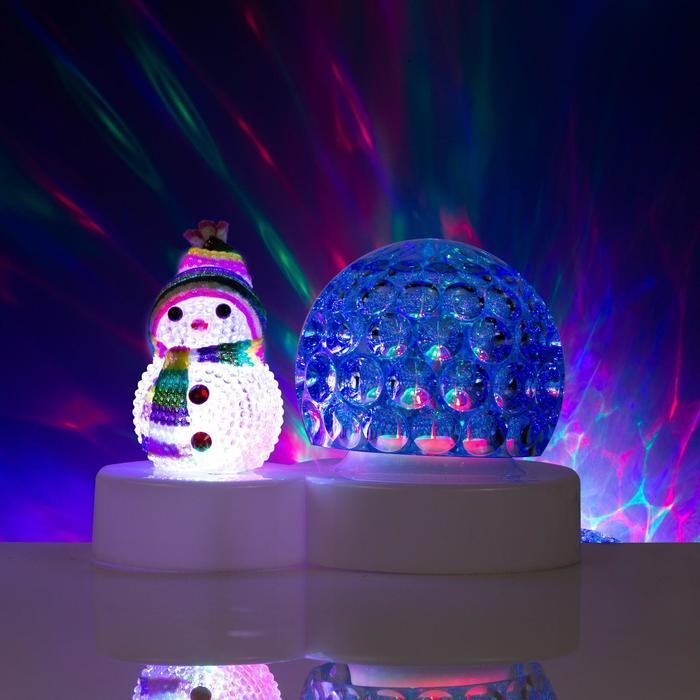 """Световой прибор """"Снеговичок с ледяным синим шаром"""", d=9.5 см, Мульти"""