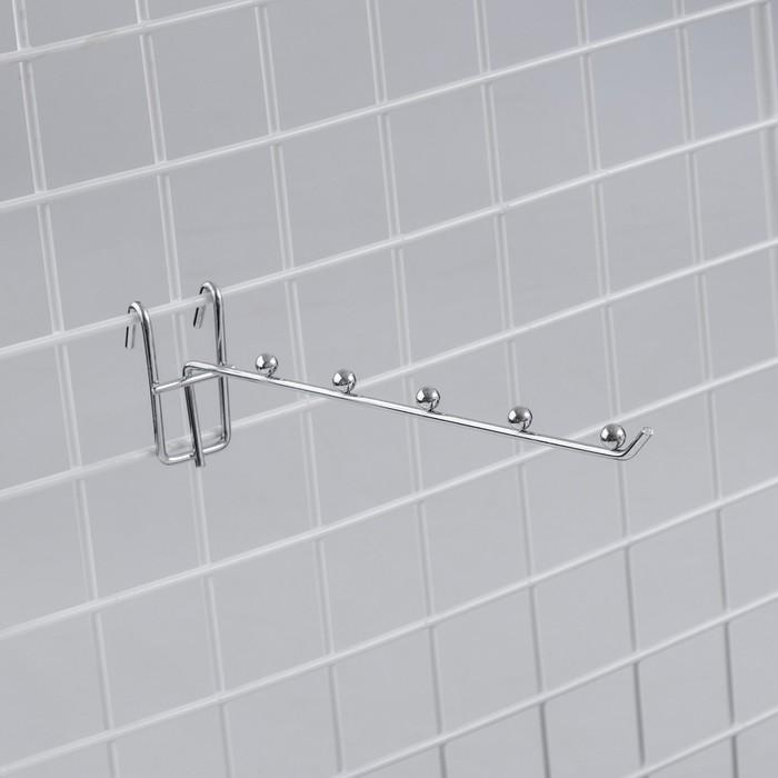 Крючок на сетку одинарный, 5 фиксаторов, L=25, d=3,5мм, цвет хром
