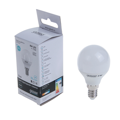 Лампа светодиодная Gauss, Elementary, G45, 8 Вт, E14, 540 Лм, 4100 K, дневной белый