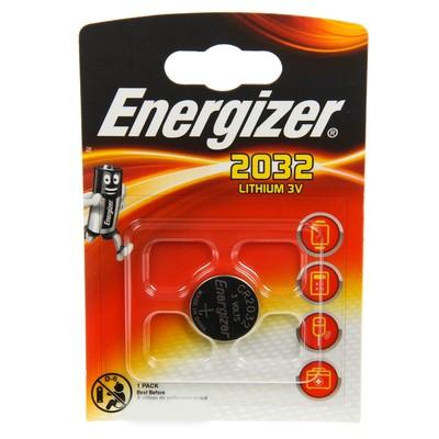 Батарейка литиевая Energizer, CR2032-1BL, 3В, блистер, 1 шт.