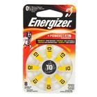 Батарейка цинковая Energizer, A10 (PR70)-8BL, для слуховых аппаратов, 1.4В, блистер, 8 шт.