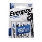 Батарейка литиевая Energizer Ultimate Lithium, АА, FR6-4BL, 1.5В, блистер, 4 шт.
