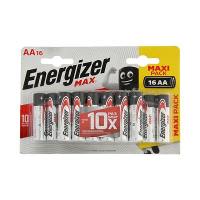 Батарейка алкалиновая Energizer Max +PowerSeal, AA, LR6-16BL, 1.5В, блистер, 16 шт. - Фото 1