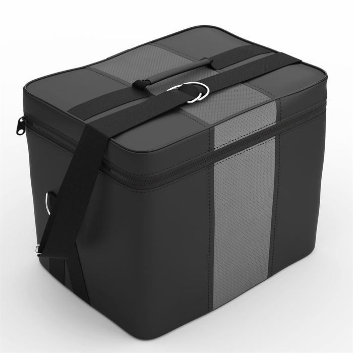 Автомобильная сумка, экокожа, чёрная, тёмно-серая