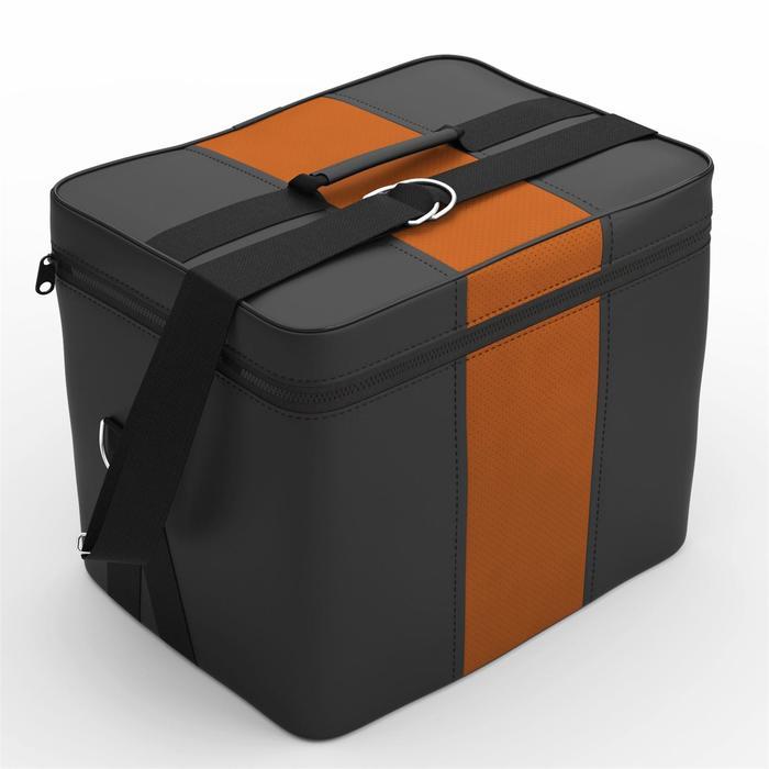 Автомобильная сумка, экокожа, чёрно-оранжевая