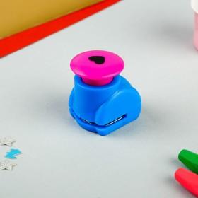 Дырокол фигурный кнопка 'Сердечко' d=1,5 см 4,3х4х3 см МИКС Ош
