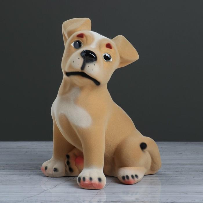 """Копилка """"Собака Рэкс"""", флок, бежевый цвет, 26 см"""
