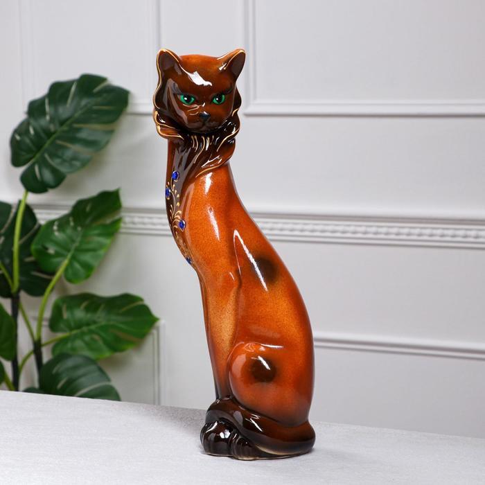 """Копилка """"Кошка Сиамская"""", глазурь, коричневая, 43 см"""