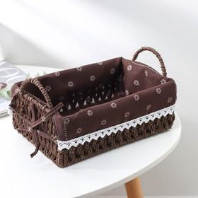 Корзина для хранения плетёная Доляна «Маргаритки», 25×17×9 см, цвет коричневый