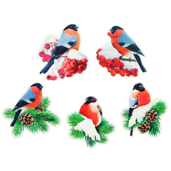 картинка новогоднее оформление окна со снегирями и веточками рябины