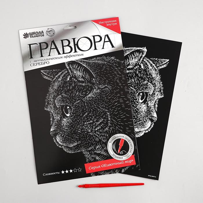 Гравюра «Британский кот» с металлическим эффектом «серебро» А4
