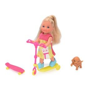 Кукла «Еви на скутере» скейт, собачка 2 вида