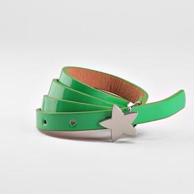 Ремень детский, ширина 1.3 см, гладкий, пряжка металл, цвет зелёный Ош