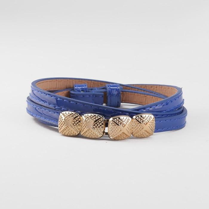 Ремень, пряжка золото, ширина - 1 см, цвет синий