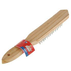 Щетка проволочная Top Tools 14A605, 5 рядов, деревянная рукоятка, стальная щетина Ош