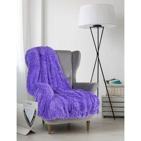 Плед мех «Шиншилла», двухсторонний, 240х220 см, фиолетовый