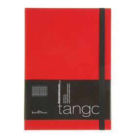 Еженедельник недатированный В5, 80 листов Tango, искусственная кожа, чёрный срез, ляссе, красный Ош