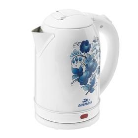 """Чайник электрический """"Добрыня"""" DO-1214, 2200 Вт, 2 л, белый с синими цветами"""